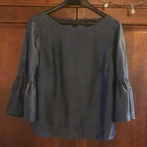 NWOT WHBM chambray ruffle sleeve blouse size 10